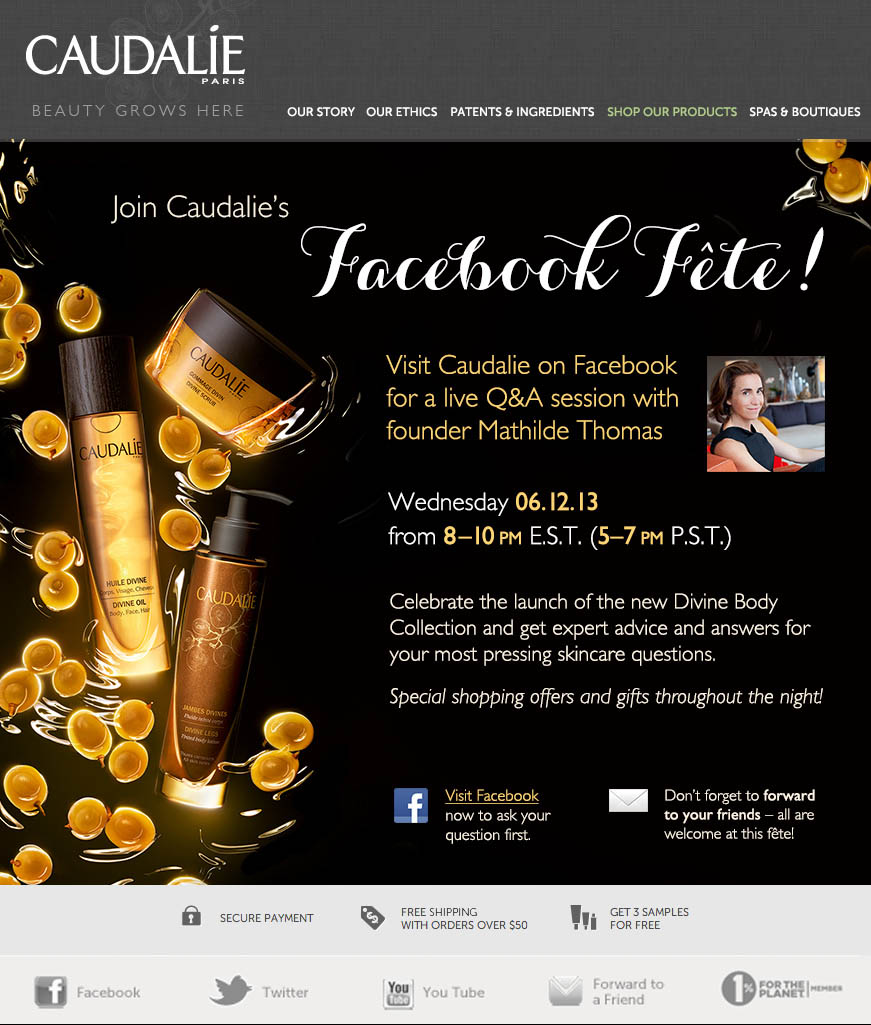 Caudalie's Live FaceBook Chat Event – Getting Your Most Pressing Beauty Questions Answered!